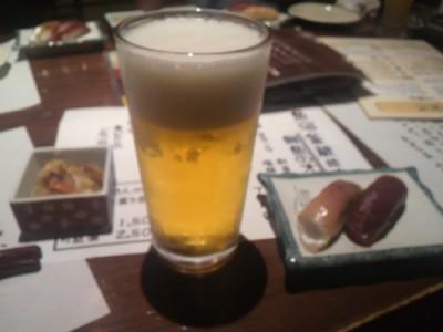 まずは生ビールから