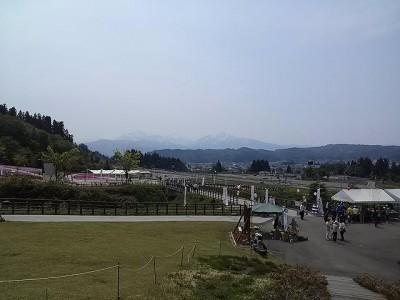 越後三山が見えました