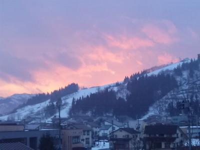 旧浦佐スキー場の夕焼け